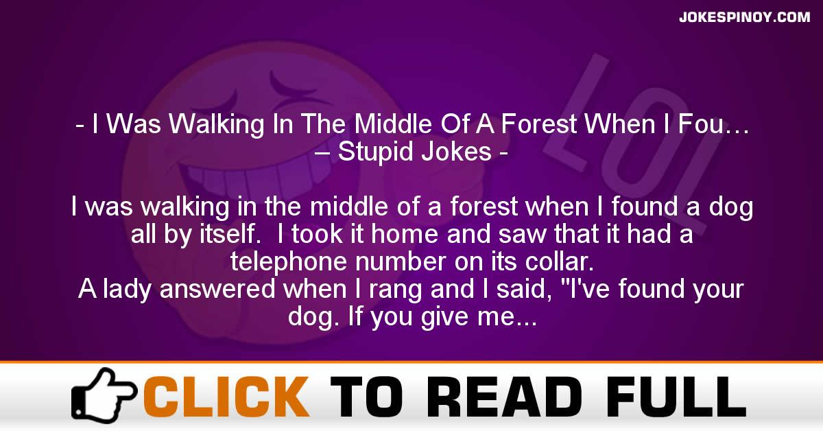 I Was Walking In The Middle Of A Forest When I Fou… – Stupid Jokes
