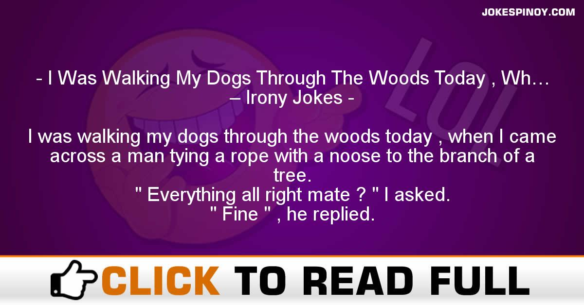 I Was Walking My Dogs Through The Woods Today , Wh… – Irony Jokes