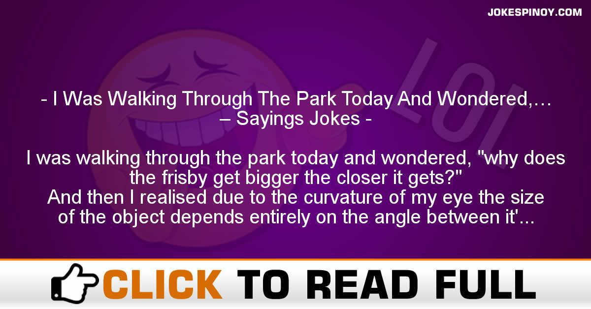 I Was Walking Through The Park Today And Wondered,… – Sayings Jokes