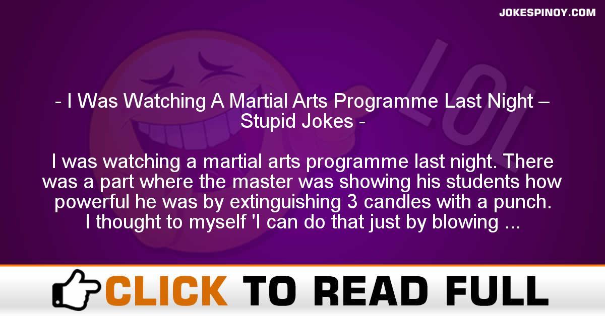 I Was Watching A Martial Arts Programme Last Night – Stupid Jokes