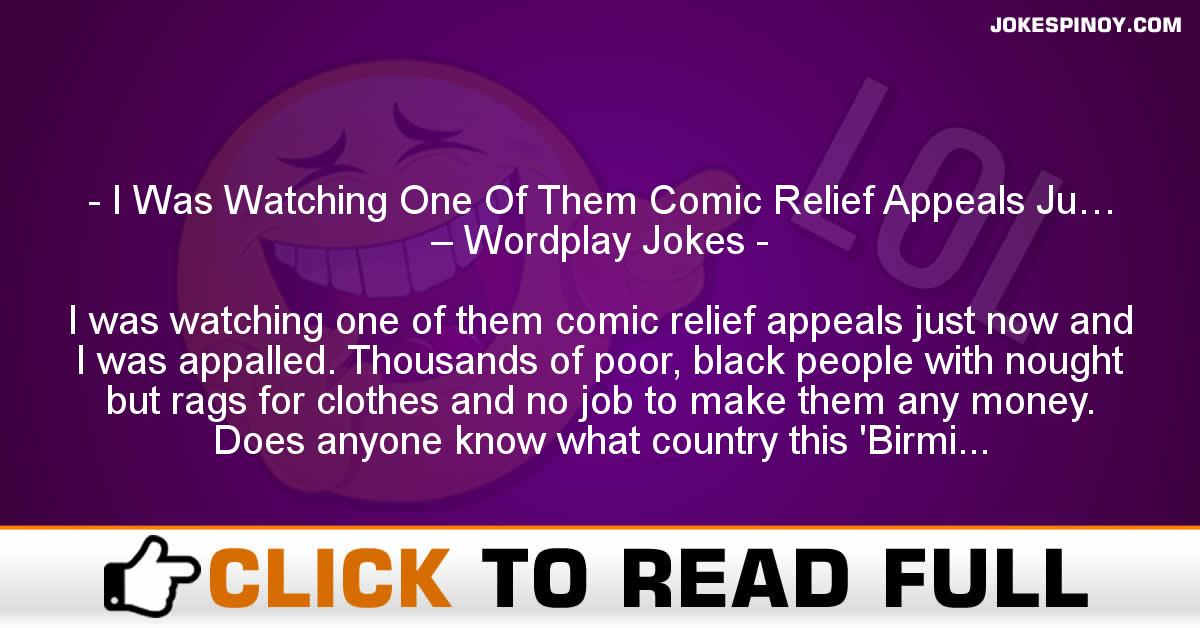 I Was Watching One Of Them Comic Relief Appeals Ju… – Wordplay Jokes