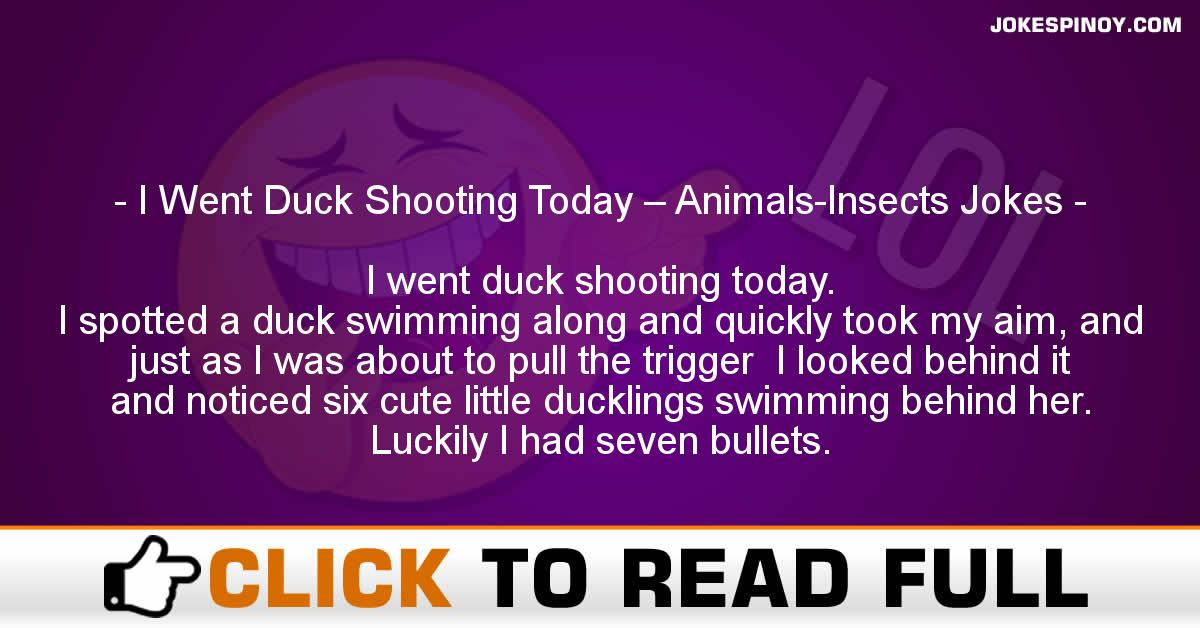 I Went Duck Shooting Today – Animals-Insects Jokes