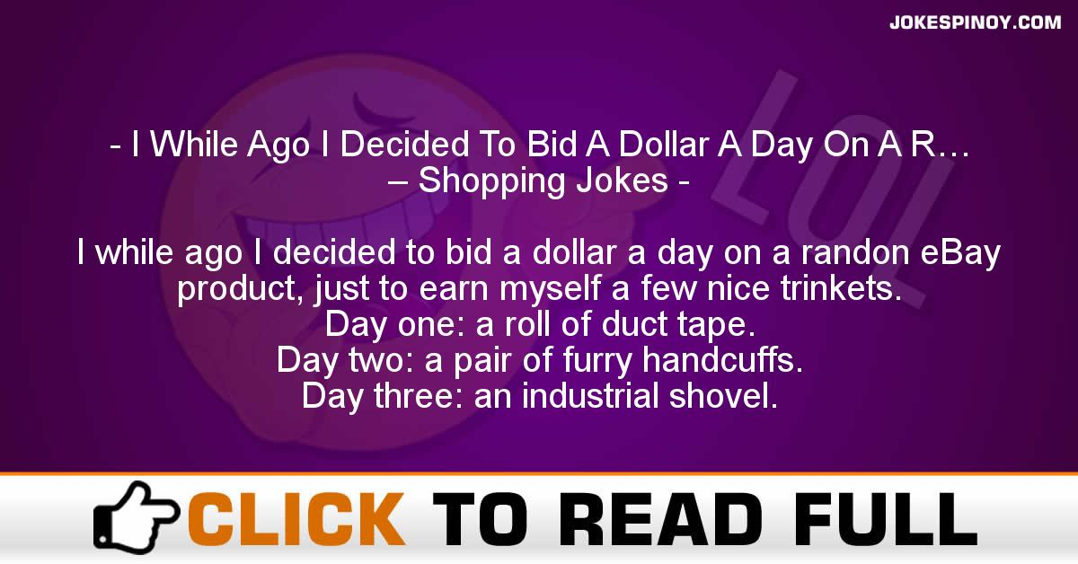 I While Ago I Decided To Bid A Dollar A Day On A R… – Shopping Jokes