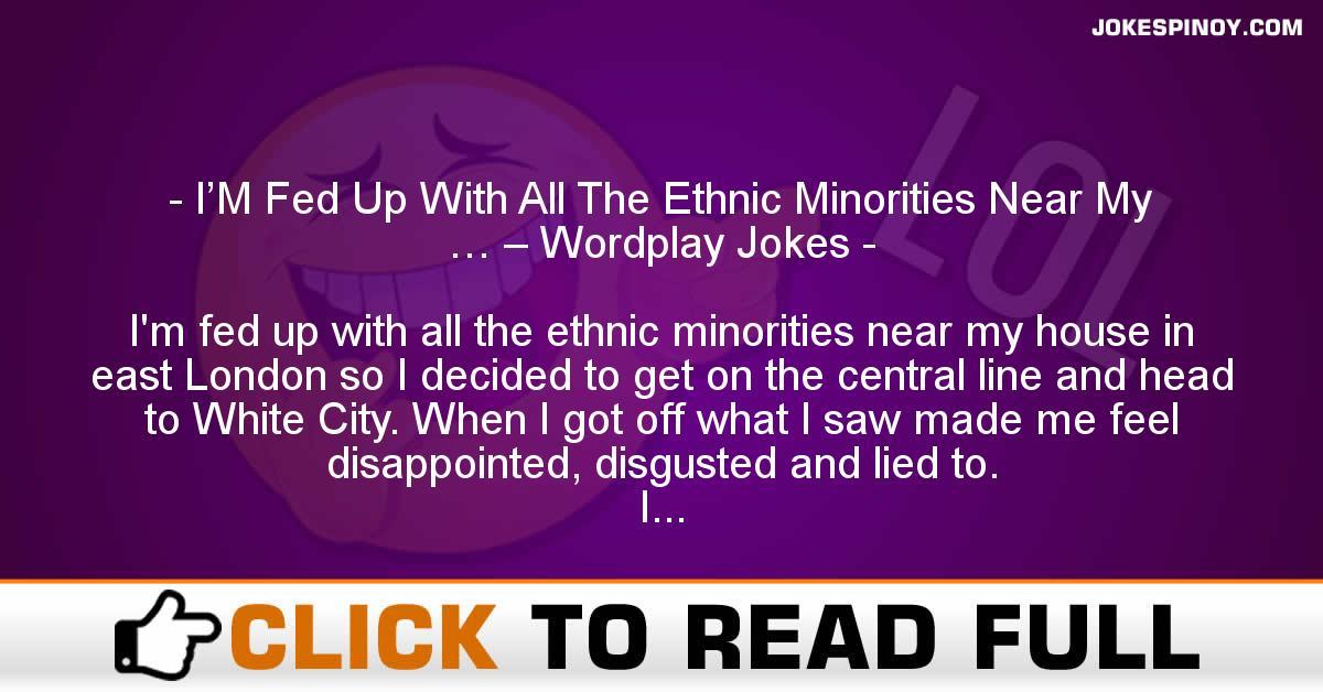 I'M Fed Up With All The Ethnic Minorities Near My … – Wordplay Jokes