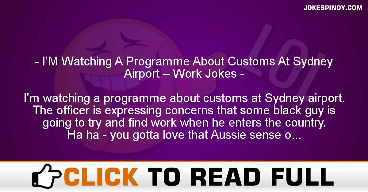 I'M Watching A Programme About Customs At Sydney Airport – Work Jokes