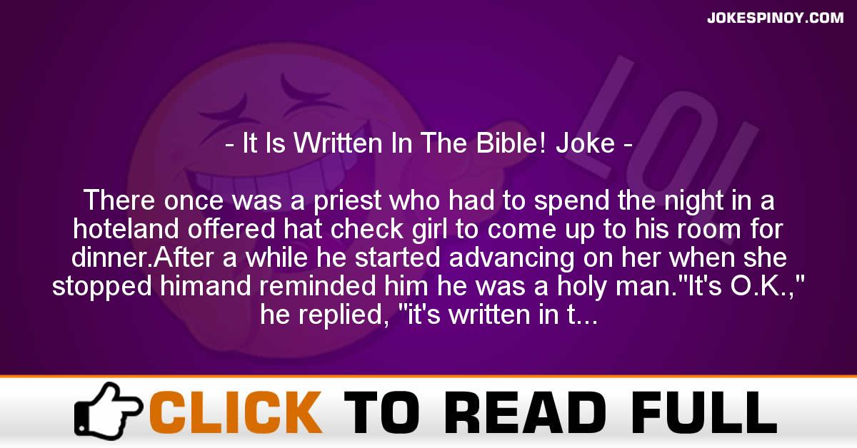 It Is Written In The Bible! Joke