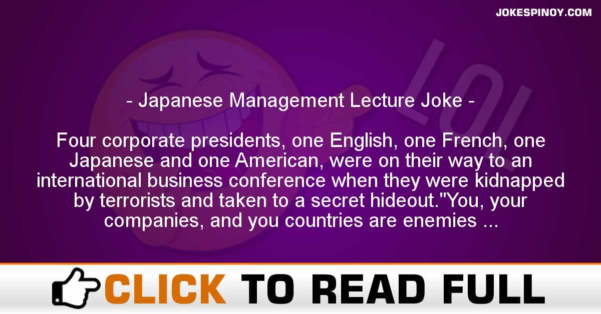 Japanese Management Lecture Joke