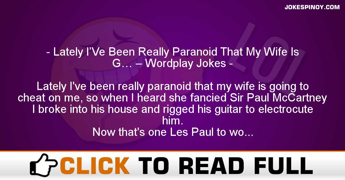 Lately I'Ve Been Really Paranoid That My Wife Is G… – Wordplay Jokes