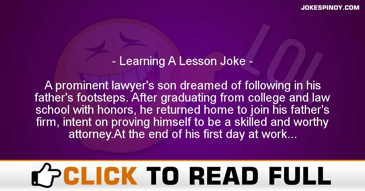 Learning A Lesson Joke