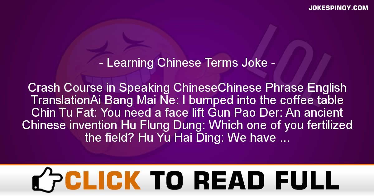 Learning Chinese Terms Joke