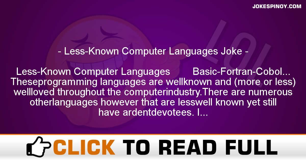 Less-Known Computer Languages Joke