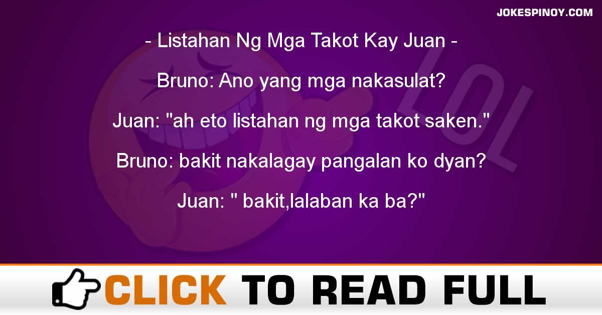 Listahan Ng Mga Takot Kay Juan