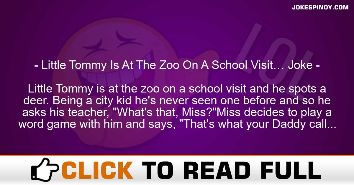 Little Tommy Is At The Zoo On A School Visit… Joke