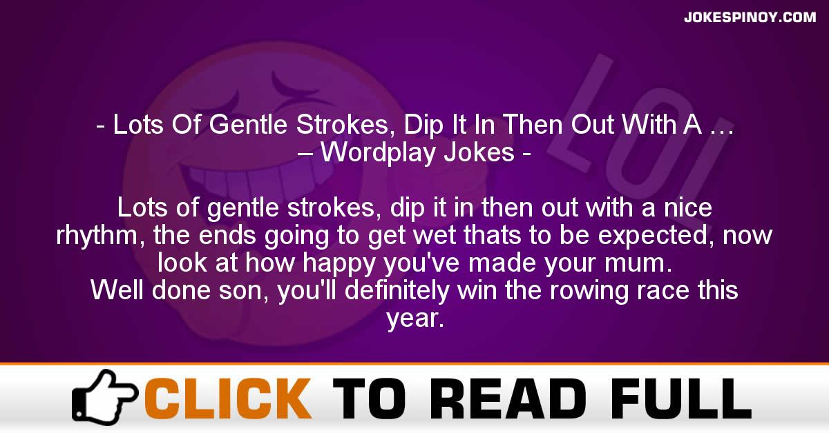 Lots Of Gentle Strokes, Dip It In Then Out With A … – Wordplay Jokes
