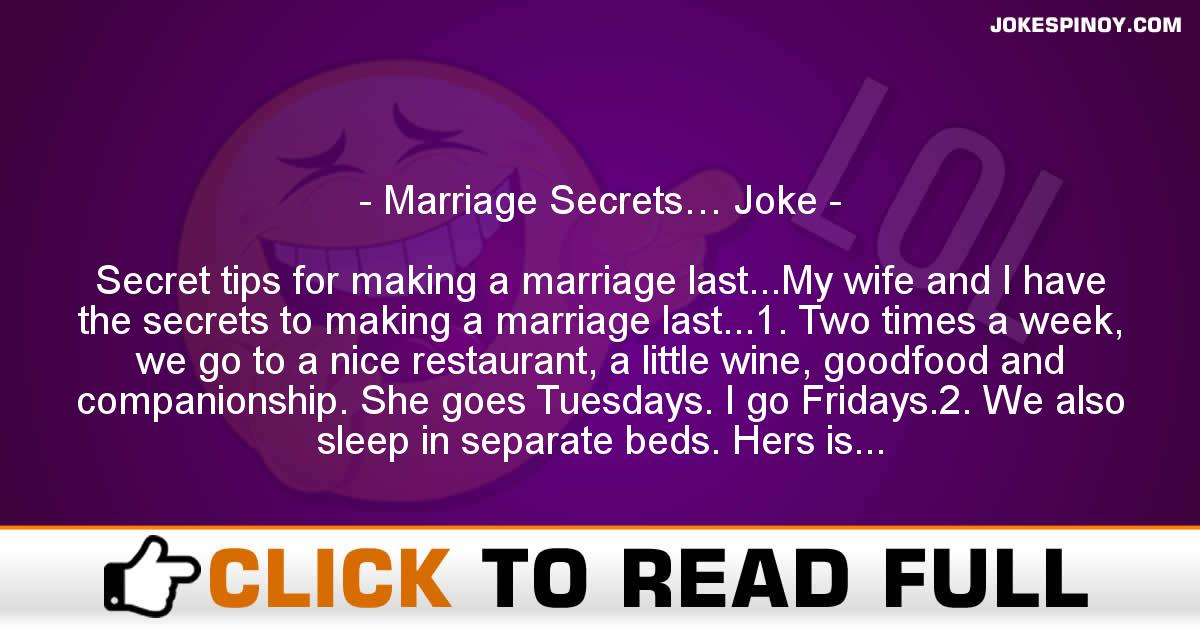 Marriage Secrets… Joke