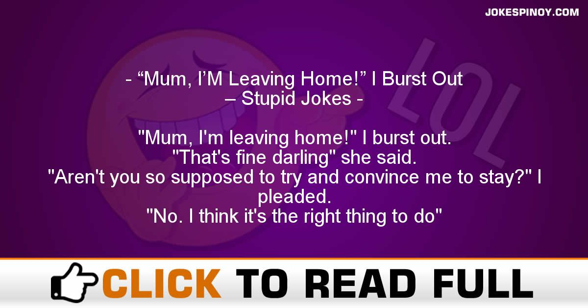 """Mum, I'M Leaving Home!"" I Burst Out – Stupid Jokes"