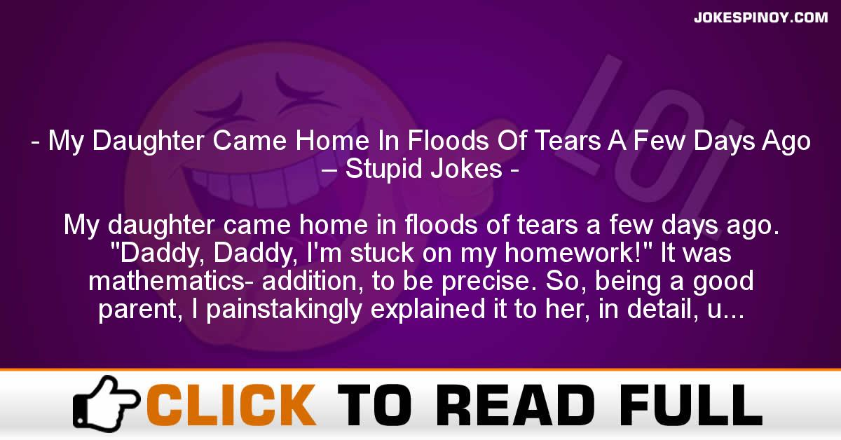 My Daughter Came Home In Floods Of Tears A Few Days Ago – Stupid Jokes