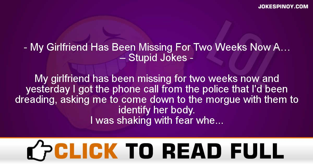 My Girlfriend Has Been Missing For Two Weeks Now A… – Stupid Jokes