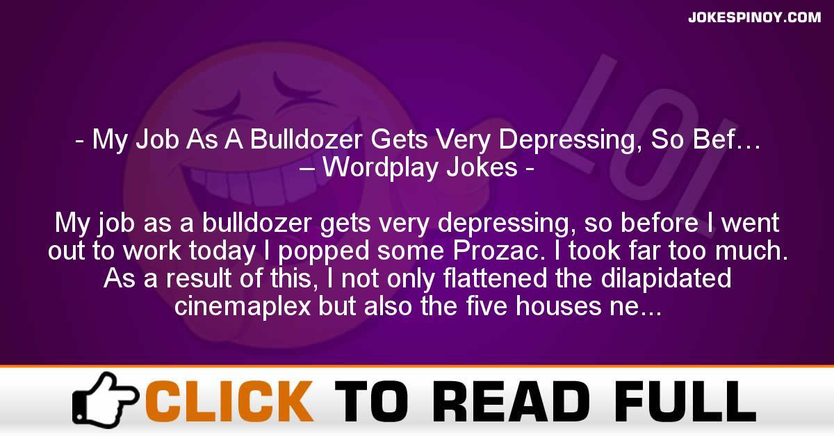 My Job As A Bulldozer Gets Very Depressing, So Bef… – Wordplay Jokes