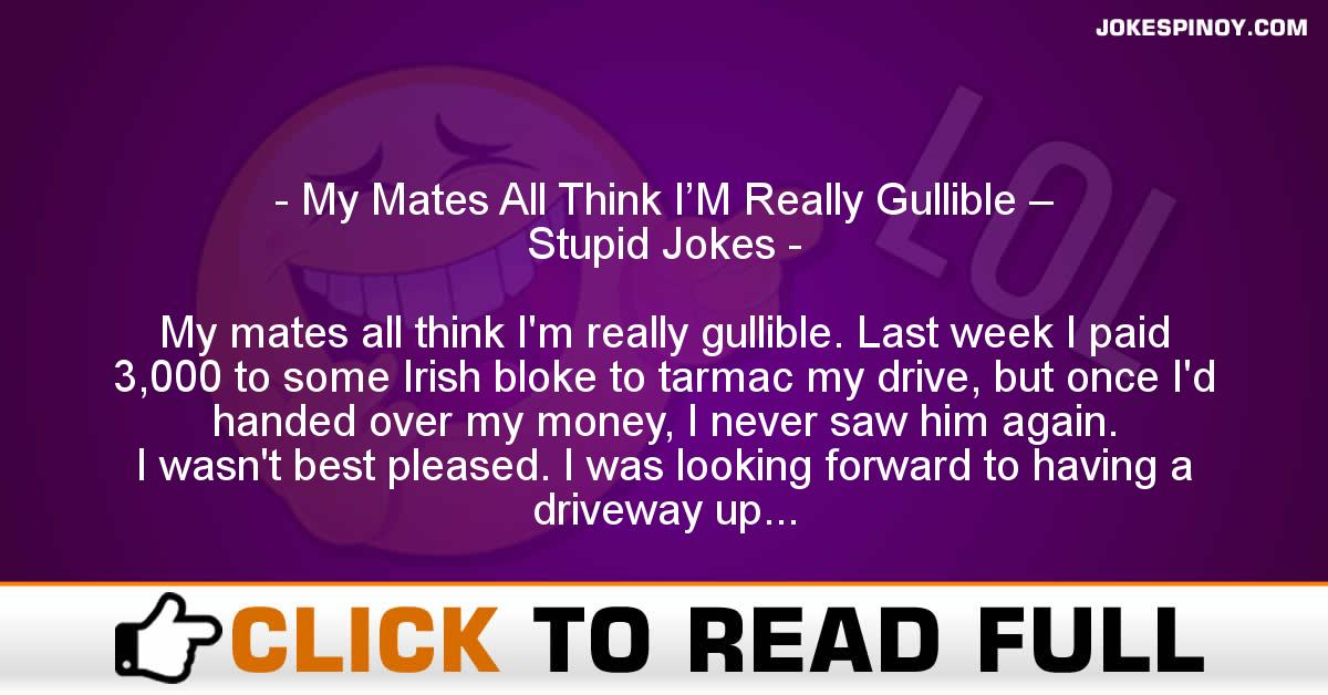 My Mates All Think I'M Really Gullible – Stupid Jokes