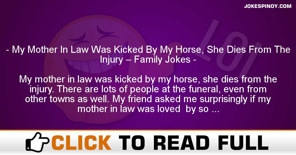 My Mother In Law Was Kicked By My Horse, She Dies From The Injury – Family Jokes