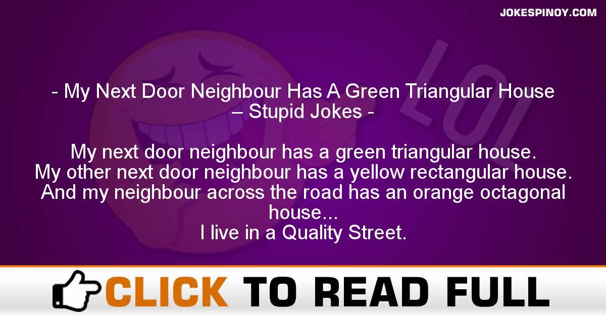 My Next Door Neighbour Has A Green Triangular House – Stupid Jokes