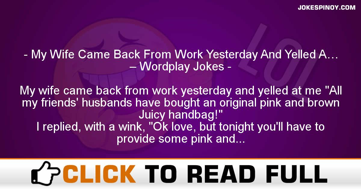 My Wife Came Back From Work Yesterday And Yelled A… – Wordplay Jokes