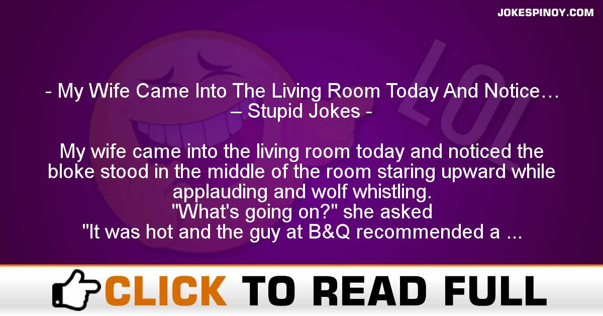 My Wife Came Into The Living Room Today And Notice… – Stupid Jokes