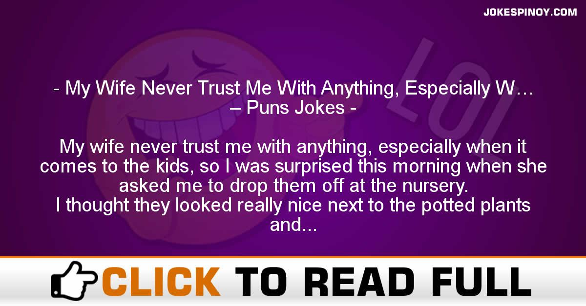 My Wife Never Trust Me With Anything, Especially W… – Puns Jokes