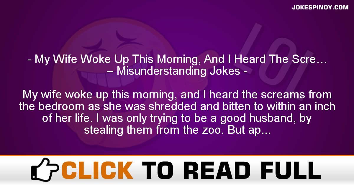 My Wife Woke Up This Morning, And I Heard The Scre… – Misunderstanding Jokes