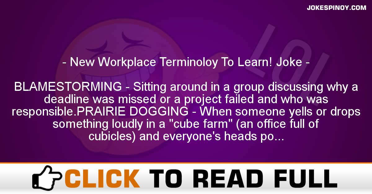 New Workplace Terminoloy To Learn! Joke