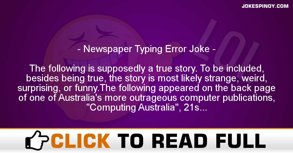 Newspaper Typing Error Joke