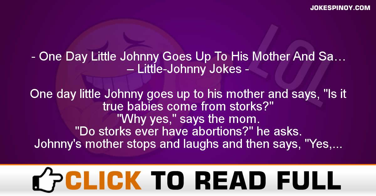 One Day Little Johnny Goes Up To His Mother And Sa… – Little-Johnny Jokes