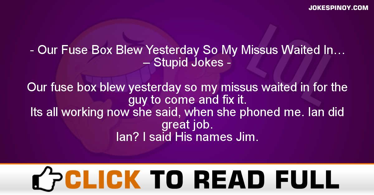 Our Fuse Box Blew Yesterday So My Missus Waited In… – Stupid Jokes