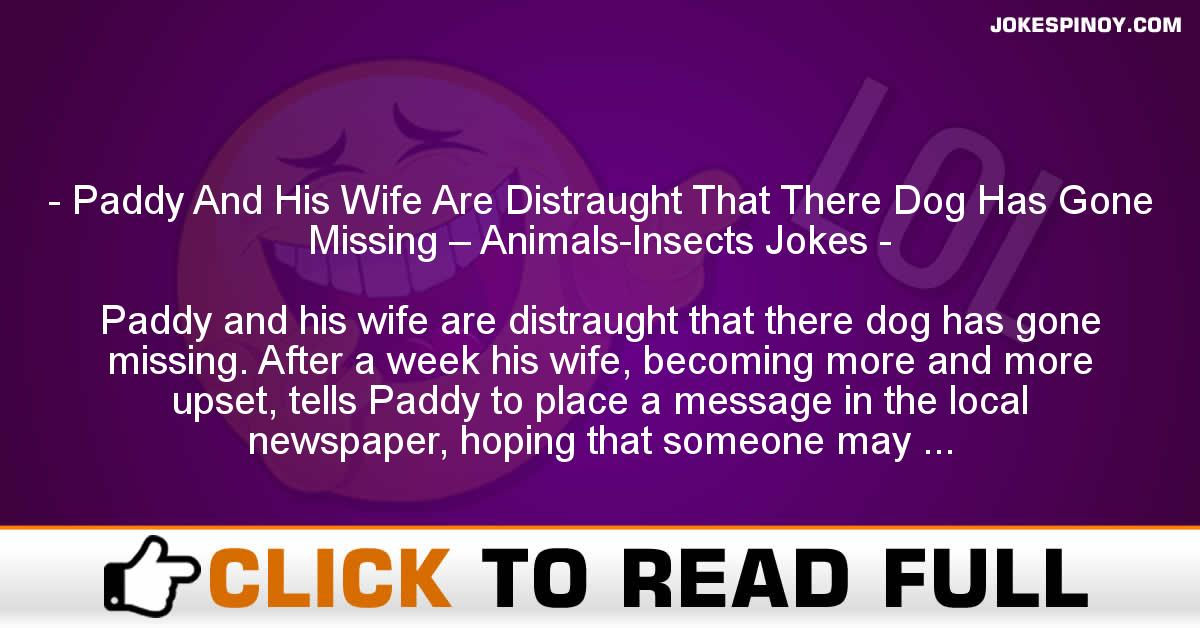 Paddy And His Wife Are Distraught That There Dog Has Gone Missing – Animals-Insects Jokes