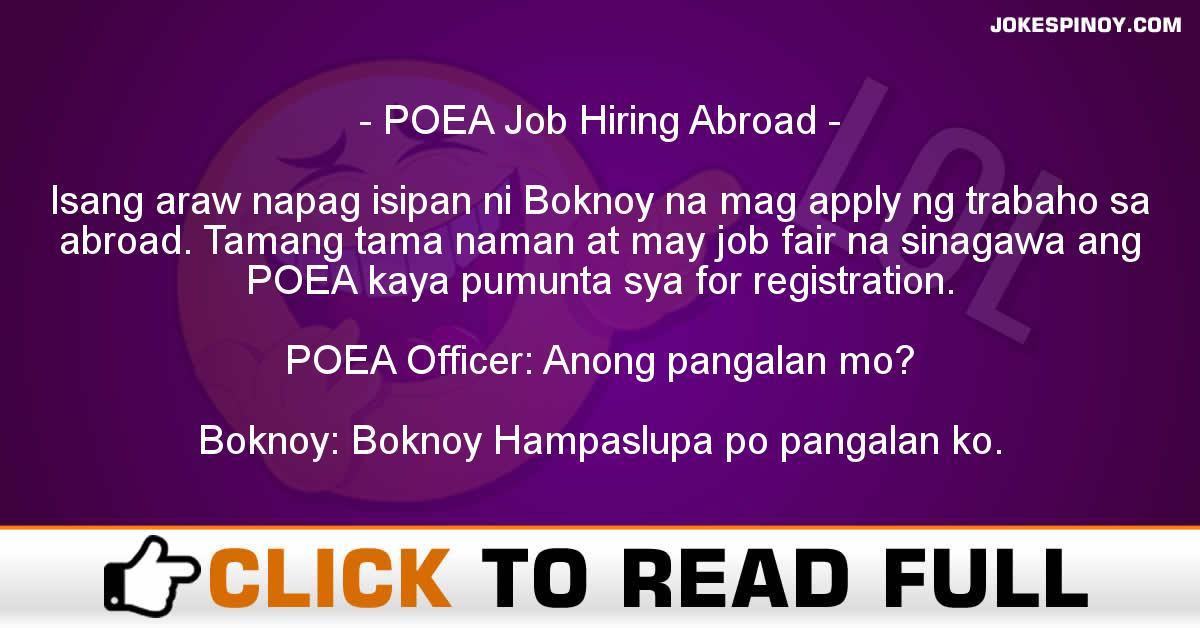 POEA Job Hiring Abroad
