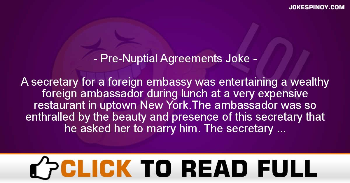 Pre Nuptial Agreements Joke Jokespinoy