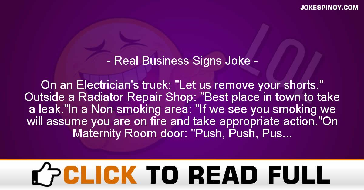 Real Business Signs Joke