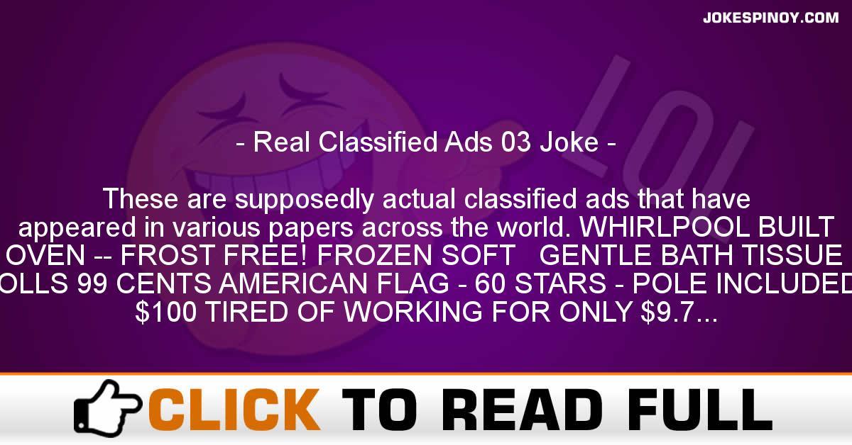 Real Classified Ads 03 Joke
