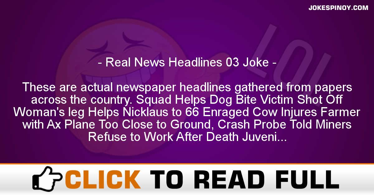 Real News Headlines 03 Joke