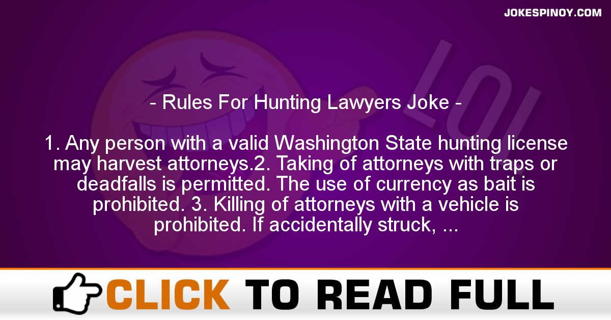 Rules For Hunting Lawyers Joke