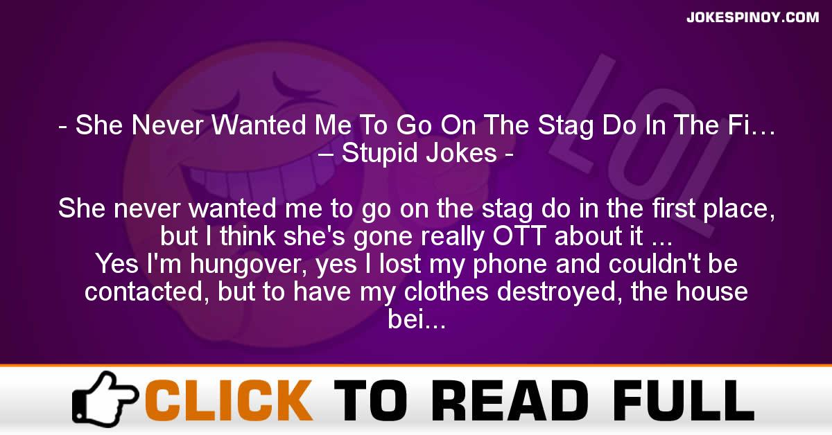 She Never Wanted Me To Go On The Stag Do In The Fi… – Stupid Jokes