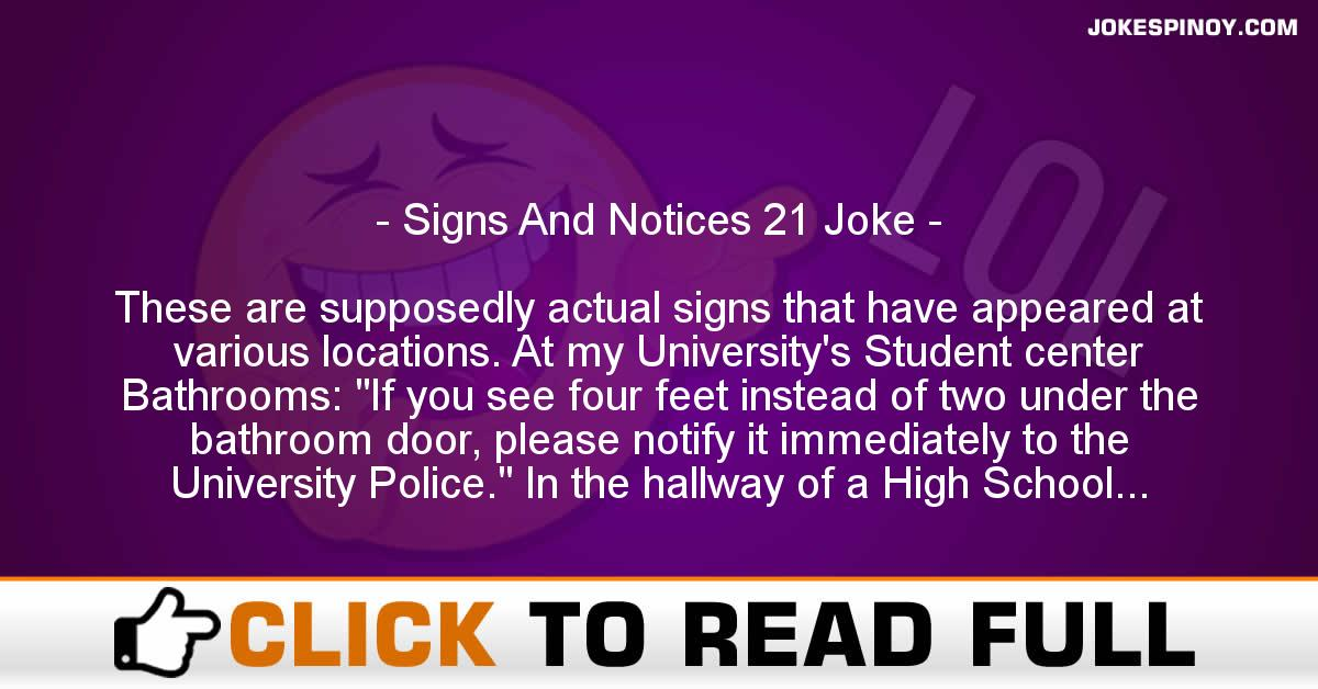 Signs And Notices 21 Joke