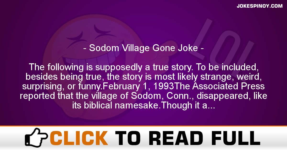 Sodom Village Gone Joke