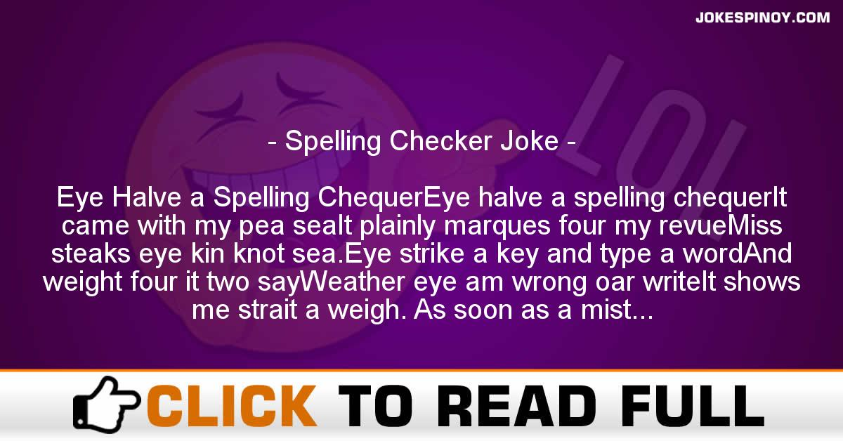 Spelling Checker Joke