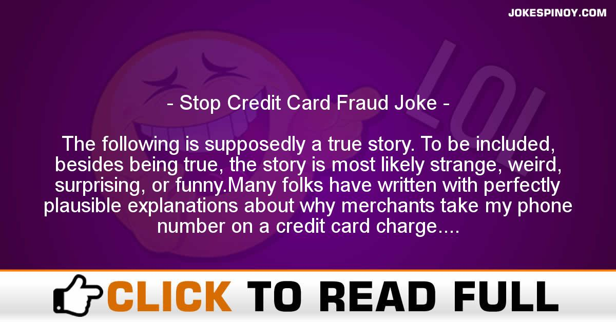 Stop Credit Card Fraud Joke