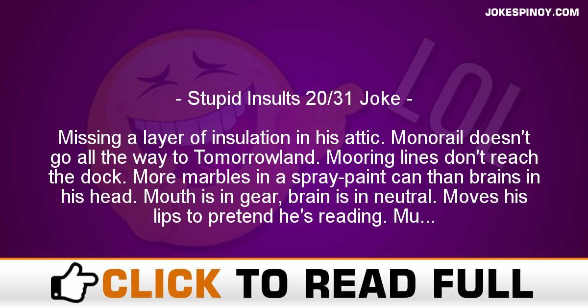 Stupid Insults 20/31 Joke
