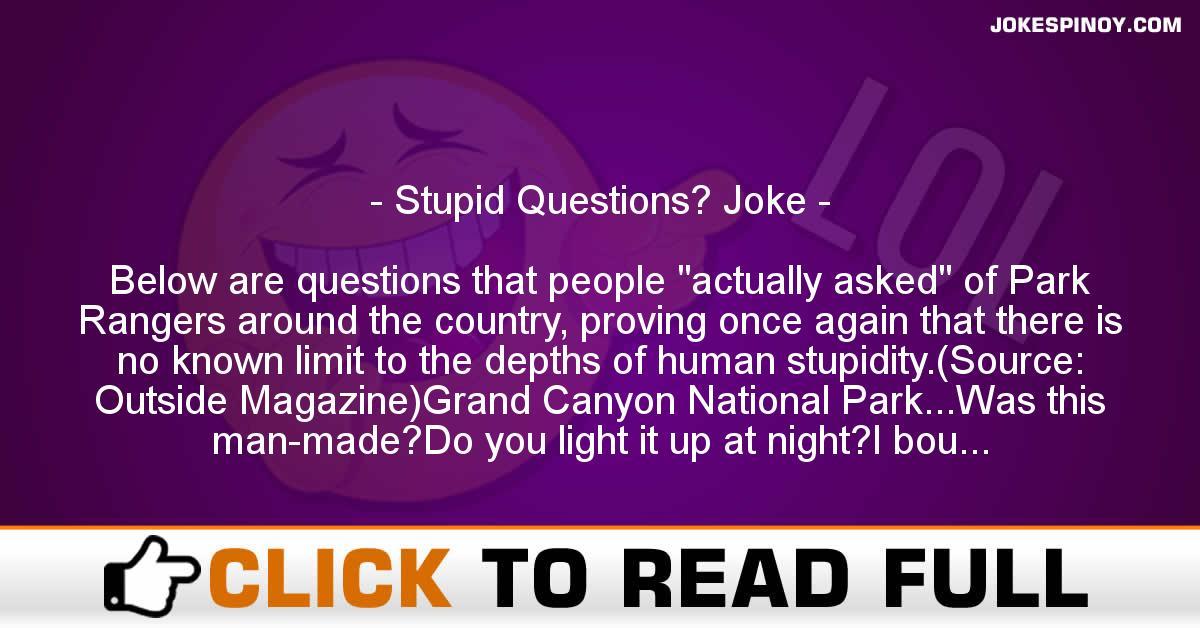 Stupid Questions? Joke