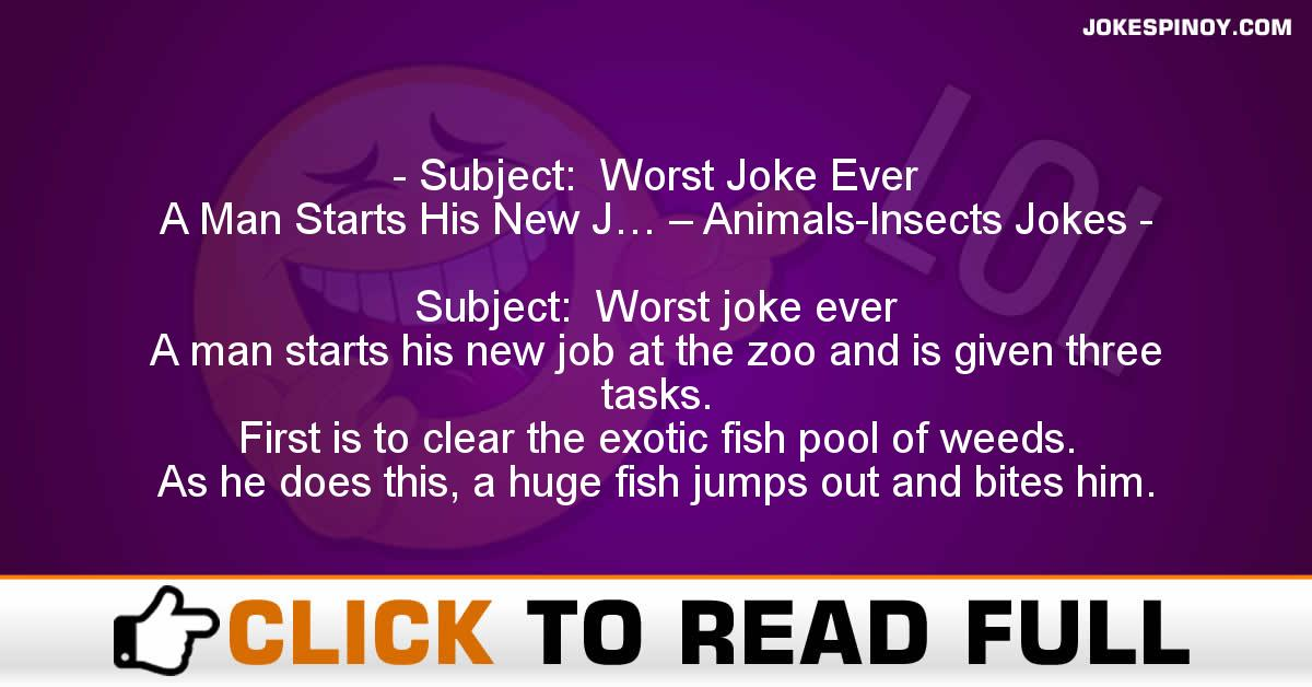 Subject:  Worst Joke Ever   A Man Starts His New J… – Animals-Insects Jokes