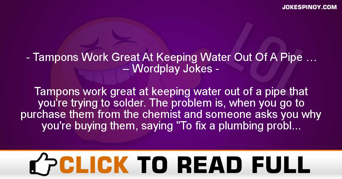 Tampons Work Great At Keeping Water Out Of A Pipe … – Wordplay Jokes